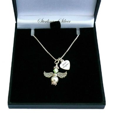 Angel Necklace with Birthstone & Engraving | Someone Remembered